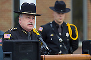 Goshen, New York - Orange County Sheriff Carl DuBois speaks during the Orange County Law Enforcement Officer Memorial Service in front of the county courthouse on May 2, 2014. The memorial service honors the memory of the 27 members of the Orange County law enforcement community that died in the line of duty. The service also pays tribute the families and loved ones left behind for their courage, dignity and perseverance.