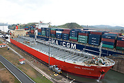 Miaflores Lock, Panama Canal, Panama, April 2014, sequence showing cargo tanker going through lock, 4 of 13 In the Miraflores locks, vessels are lifted (or lowered) 54 feet (16.5 m) in two stages, allowing them to transit to or from the Pacific Ocean port of Balboa in Panama City. Ships cross below the Bridge of the Americas, which connects North and South America.