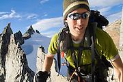 Climber Brian Polagye pushes onward during a traverse of the Eldorado Ice Cap in the heart of North Cascades National Park, Washington.