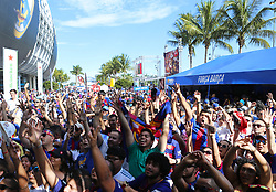 Fans enjoying the activities before the start of the ''El Clasico Miami'' match, Barcelona against Real Madrid, as part of the International Champions Cup on Saturday, July 29, 2017, at Hard Rock Stadium in Miami Gardens, FL, USA. Photo by David Santiago/El Nuevo Herald/TNS/ABACAPRESS.COM