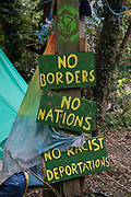 Signs at HS2 Rebellion's Denham Protection Camp are pictured on 7 September 2020 in Denham, United Kingdom. Anti-HS2 activists continue to try to prevent or hinder works on the controversial £106bn high-speed rail link for which the start of the construction phase was announced on 4th September from a series of protection camps based along the route of the line between London and Birmingham.