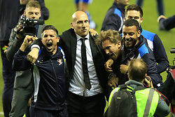 16 May 2017 - Sky Bet Championship - Play-off 2nd Leg - Reading v Fulham - Jaap Stam manager of Reading (C) celebrates with his coaching staff - Photo: Marc Atkins / Offside.