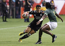 March 13, 2016 - Vancouver, BC, Canada - New Zealand (Black) vs South Africa (Green) during the cup final at the sixth round of the HSBC World Rugby Sevens Series at BC Place Stadium in Vancouver, BC, Canada. New Zealand won 19-14. (Credit Image: © Andrew Chin/ZUMA Wire/ZUMAPRESS.com)