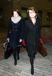 © London News Pictures. 07/02/2013 . London, UK.  Vicky Pryce (right) leaving Southwark Crown Court after giving evidence in her trial for perverting the course of justice. Vicky Pryce, who has admitted  accepting penalty points incurred by her former husband and disgraced MP Chris Huhne in 2003, told the court how Chris Huhne forced her to have an abortion. Photo credit : Ben Cawthra/LNP