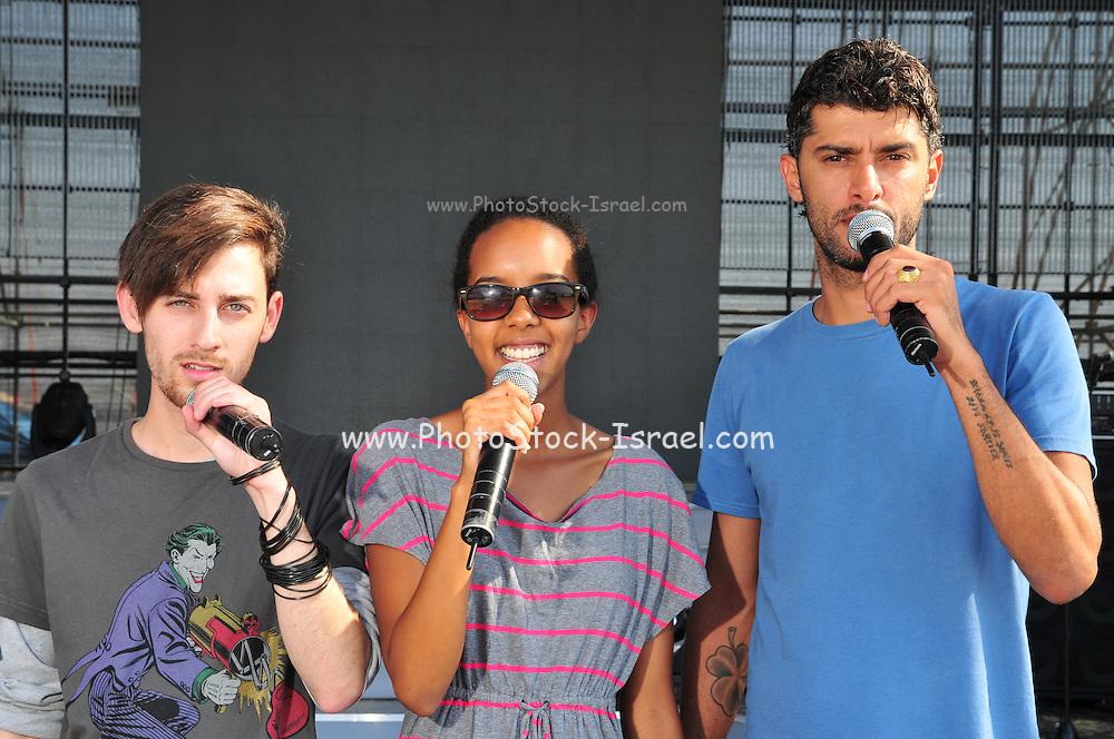 Kochav Nolad (A Star is Born) The Israeli Version of American Idol. The three finalist (left to right) David Lavi, Hagit Yasu (winner) and Liron Ramati, July 2011