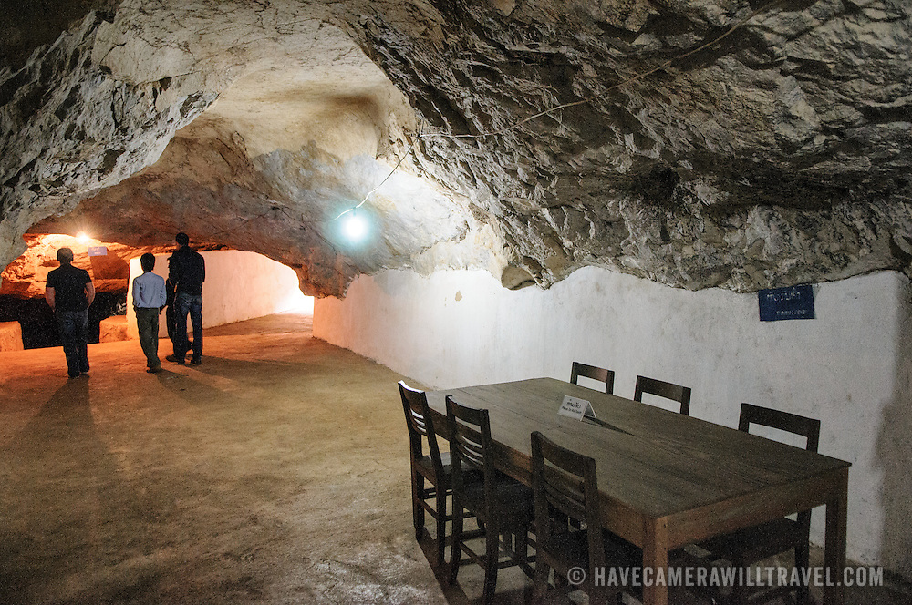 A meeting room at the Pathet Lao Caves of Vieng Xai in Houaphanh Province in northeastern Laos. It was in these natural caves deep in karsts that the Pathet Lao leadership avoided constant American bombing raids during the Vietnam War.