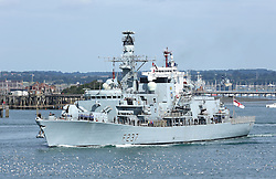 © under license to London News Pictures.  13/08/2013  HMS WESTMINSTER LEAVES PORTSMOUTH TO TAKE PART IN EXERCISE COUGAR IN THE MED. Picture credit should read: Bryan Moffat/London News Pictures