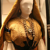 Europe, Spain, Toledo. Sephardic wedding dress in Synagogue of El Transito museum.