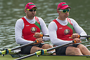Plovdiv, Bulgaria, 10th May 2019, FISA, Rowing World Cup 1,  Start Area, BLR M2X, Bow, Stanislau SHCHARBACHENIA and Dzianis MIHAL, move away from the start pontoon in their heat of the Men's Double Sculls. [© Peter SPURRIER],