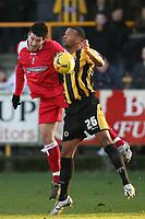 Photo: Pete Lorence.<br />Boston United v Swindon Town. Coca Cola League 2. 20/01/2007.<br />Lee Peacock sends the ball past Brad Thomas