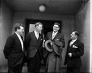 01/05/1959<br /> 05/01/1959<br /> 01 May 1959<br /> Junior Chamber of Commerce Congress. Over 100 foreign delegates attended the Seventh European Junior Chamber of Commerce Congress, which opened on 1st May 1959 in Dun Laoghaire. Picture shows Mr Maurice C. Sexton (second from right) President Junior Chamber Of Commerce International on arrival at Dublin Airport with Mr. D. power (2nd from left) President Cork Junior Chamber of Commerce; Mr. Leo H. Callow, Chairman Congress Committee (right) and Mr. J.V. Dillon (Cork) who were at the airport to welcome the International President.