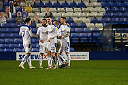 GOAL 3-1!! Tranmere Rovers midfielder Liam Feeney scores and celebrates with team mates during the EFL Sky Bet League 2 match between Tranmere Rovers and Forest Green Rovers at Prenton Park, Birkenhead, England on 19 January 2021.