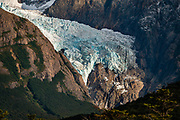 """See Glaciar Piedras Blancas from the trail """"Sendero Fitz Roy"""", which leads to Laguna de Los Tres (20 km round trip with 1100 meters gain from El Chalten), in Los Glaciares National Park, Santa Cruz Province, Argentina, Patagonia, South America.  Los Glaciares National Park and Reserve are honored on UNESCO's World Heritage List."""