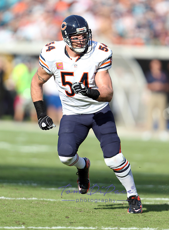 Chicago Bears Brian Urlacher in a game against the Jacksonville Jaguars at EverBank Field in Jacksonville, FL. October 07, 2012<br /> ( Photo/Tom DiPace)