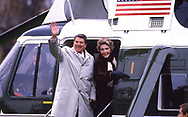 President Ronald Reagan and First Lady Nancy Reagan wave fro Marine One as they leave the <br /> white House for a trip to New York in D<br /> ecember 1985<br /><br />Photograph ny Dennis Brack. bb78
