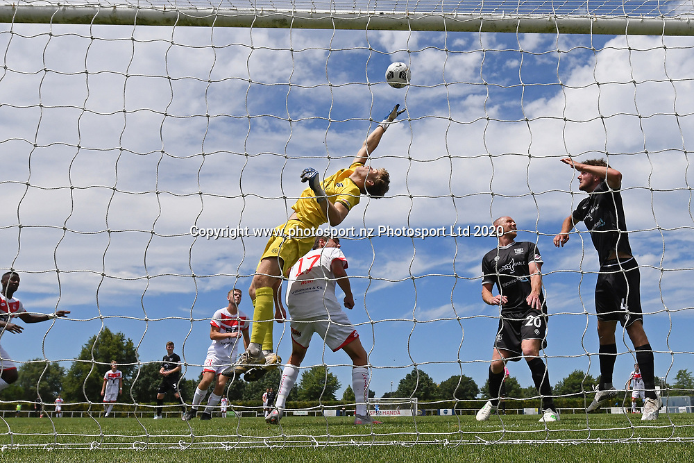 Hawke's Bay United's Scott Morris makes a save in the Handa Premiership football match, Hawke's Bay United v Waitakere United, Bluewater Stadium, Napier, Sunday, December 20, 2020. Copyright photo: Kerry Marshall / www.photosport.nz