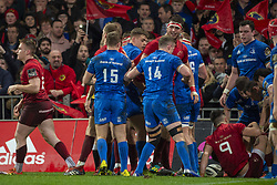 December 30, 2018 - Limerick, Ireland - Munster players celebrate scoring of Chris Cloete during the Guinness PRO14 match between Munster Rugby and Leinster Rugby at Thomond Park in Limerick, Ireland on December 29, 2018  (Credit Image: © Andrew Surma/NurPhoto via ZUMA Press)