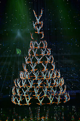 NANJING, Aug. 16, 2014  Performers from Songshan Shaolin Tagou Martial Arts School at Dengfeng, Henan Province perform aerial stunts during the opening ceremony of Nanjing 2014 Youth Olympic Games in Nanjing, capital of east China?s Jiangsu Province, Aug. 16, 2014. (Credit Image: © Xinhua via ZUMA Wire)