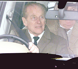 File photo dated 10/02/02 of The Duke of Edinburgh driving from Sandringham Parish Church, as a Buckingham Palace spokeswoman confirmed the duke was driving when he was involved in a road accident while driving close to the Sandringham Estate.