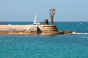 Rusty Lighthouse at the entrance to the Ancient Jaffa port, Israel