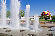 Fountain and flower sculpture in Antonin poncet square, Lyon, France (UNESCO World Heritage Site)
