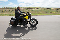 Doug Wothke riding his 1929 Harley-Davidson JD during Stage 8 of the Motorcycle Cannonball Cross-Country Endurance Run, which on this day ran from Junction City, KS to Burlington, CO., USA. Saturday, September 13, 2014.  Photography ©2014 Michael Lichter.