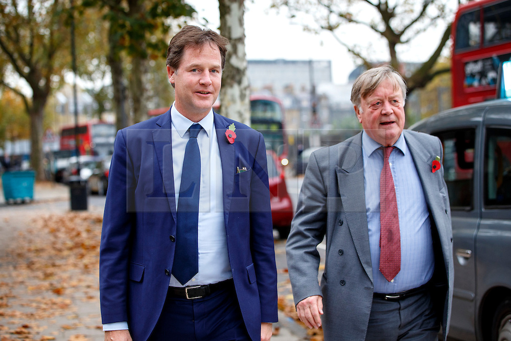 © Licensed to London News Pictures. 03/11/2015. London, UK. Nick Clegg and Ken Clarke attending a memorial service for ex-Liberal Democrat leader Charles Kennedy at St George's Cathedral in London on Tuesday, 3 November, 2015. Mr Kennedy died suddenly on June 1, 2015 at the age of 55 after suffering a major haemorrhage as a result of a long battle with alcoholism. Photo credit: Tolga Akmen/LNP