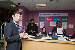 © Licensed to London News Pictures. 14/05/2012. London, UK. Shadow Health Secretary Andy Burnham MP (left) speaking to staff during a visit to Half Penny Steps Health Centre in North West London on May 14, 2012. Photo credit : Ben Cawthra/LNP