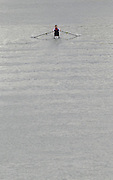 """Seville. SPAIN, 17.02.2007, CZE M1X, moves away from """"Puente de la Alamillo""""; bridge; training on the River Guadalquiver Rowing and Canoeing; course [Photo Peter Spurrier/Intersport Images].   [Mandatory Credit, Peter Spurier/ Intersport Images]. , Rowing Course: Rio Guadalquiver Rowing Course, Seville, SPAIN,"""