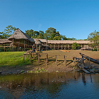 The Amazon Refuge Wildlife Conservation Center, a tourist camp, is built on poles to keep it above annual flooding of Peru's Amazon River.