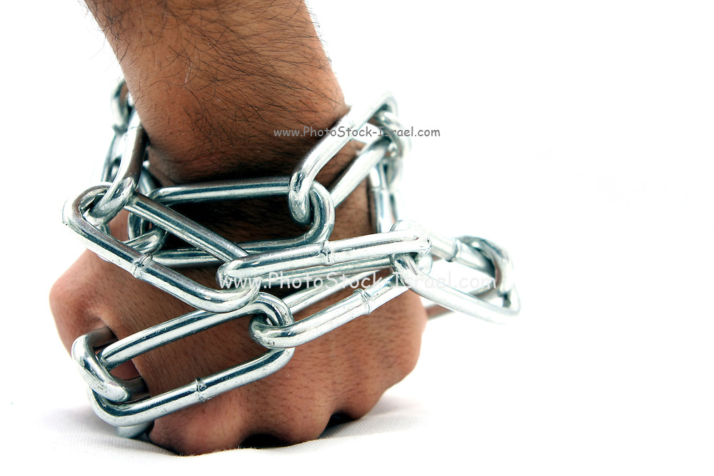 Cutout of a Man's hand chained and locked on white background