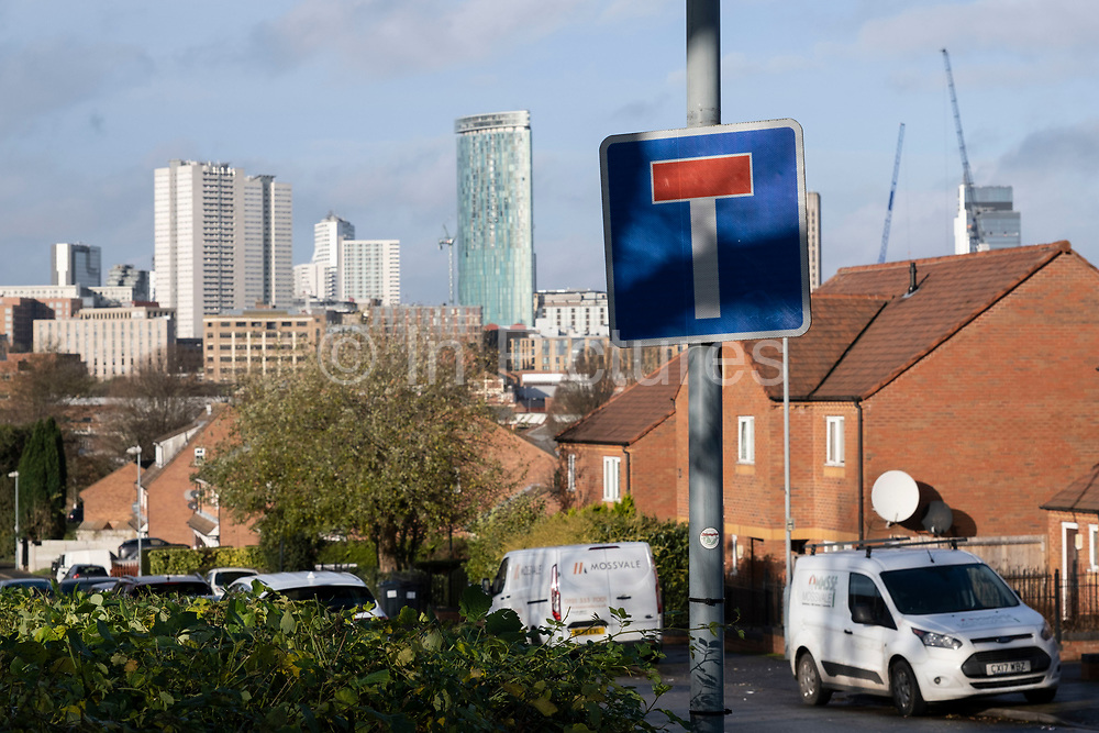 Dead end sign looking towards the city centre from Highgate on 14th December 2020 in Birmingham, England, United Kingdom. Possibly a sign for tough times to come for the economy.
