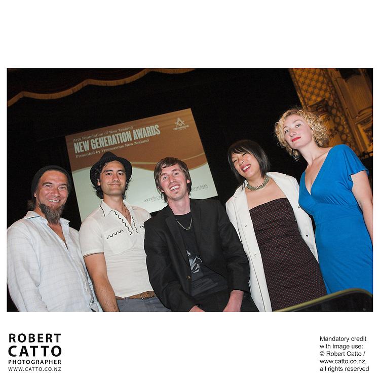 Warren Maxwell;Taika Waititi;Joe Sheehan;Tze Ming Mok;Eve Armstrong at the Arts Foundation of New Zealand New Generation Awards at the St James Theatre, Wellington, New Zealand.<br />