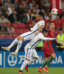 June 28, 2017 - Kazan, Russia - Mauricio Isla (L), Gary Medel of the Chile national football team and Cristiano Ronaldo of the Portugal national football team vie for the ball during the 2017 FIFA Confederations Cup match, semi-finals between Portugal and Chile at Kazan Arena on June 28, 2017 in Kazan, Russia. (Credit Image: © Igor Russak/NurPhoto via ZUMA Press)