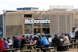© Licensed to London News Pictures..05/05/2012 McDonald's restaurant in the Olympic Park.. Official opening of the London 2012 Olympic Stadium and Olympic Park to the public as part of the London Prepares series of test events..Photo credit :LNP