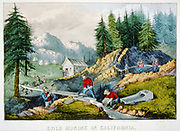 Gold mining in California by Currier & Ives. Gold miners shoveling sand from stream into sluice while one miner pans for gold in the same stream, small building and mountains in the background. lithograph, hand-colored.  c1871.