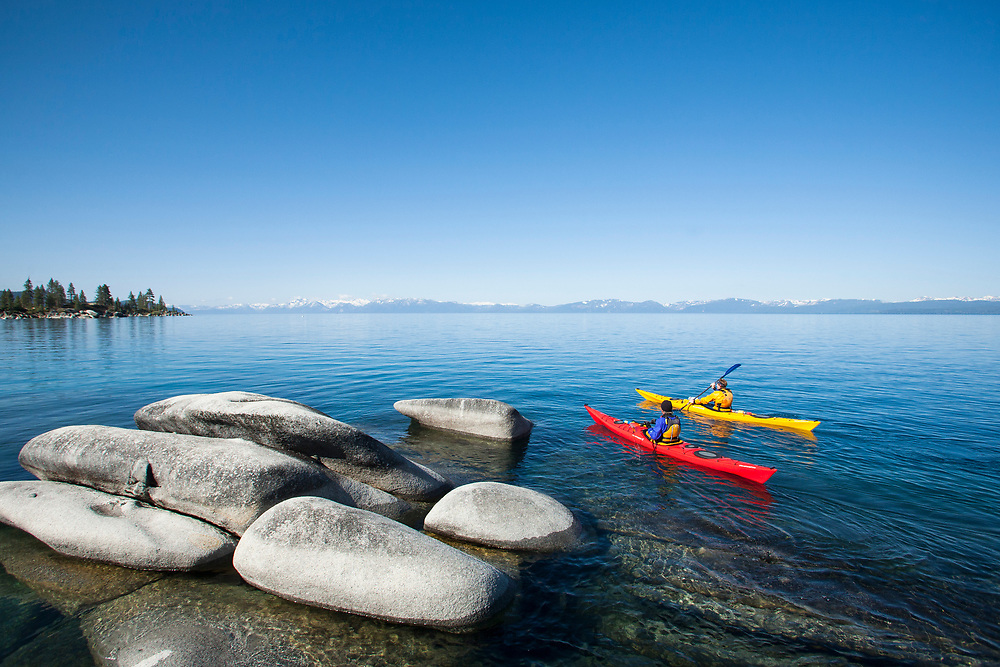 Kayaking near Sand Harbor on Lake Tahoe, NV.