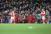 Arsenal attacker Alexis Sanchez (7) going off subbed during the Champions League round of 16, game 2 match between Arsenal and Bayern Munich at the Emirates Stadium, London, England on 7 March 2017. Photo by Matthew Redman.