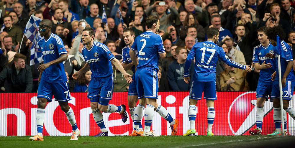 Chelsea players celebrate Samuel Eto'o's opening goal against Galatasaray<br /> <br /> Photo by Ashley Western/CameraSport<br /> <br /> Football - UEFA Champions League First Knockout Round 2nd Leg - Chelsea v Galatasaray - Tuesday 18th March 2014 - Stamford Bridge - London<br />  <br /> © CameraSport - 43 Linden Ave. Countesthorpe. Leicester. England. LE8 5PG - Tel: +44 (0) 116 277 4147 - admin@camerasport.com - www.camerasport.com
