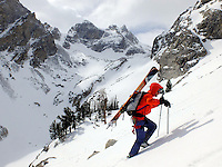 Viktor Marohnic ascends a snow field on the northern side of Garnet Canyon in early March in Grand Teton National Park. Marohnic, of Brooklyn, New York, was in Jackson participating in a ski mountaineering camp with Jackson Hole Mountain Guides.