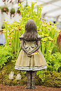 Alice in Wonderland Bronze by Robert James - Hampshire Carnivorous Plants and RHS Hampton 2018's Master Grower, Celebrate their 20th anniversary at the show with additional Lego carnivorous plants - Press day at The RHS Hampton Court Flower Show.