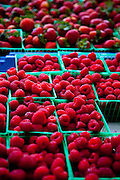 Fresh South Carolina raspberries at an organic local produce farmers market in Marion Square in Charleston, South Carolina (photo by Charleston SC photographer Richard Ellis)