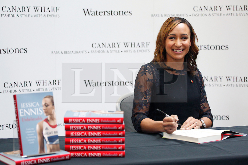 © licensed to London News Pictures. London, UK 09/11/2012. Olympic gold medalist Jessica Ennis singing her new book 'Jessica Ennis: Unbelievable - From My Childhood Dreams to Winning Olympic Gold' at Jubilee Place Shopping Centre, London. The book hit shelves on 08/11/12. Photo credit: Tolga Akmen/LNP