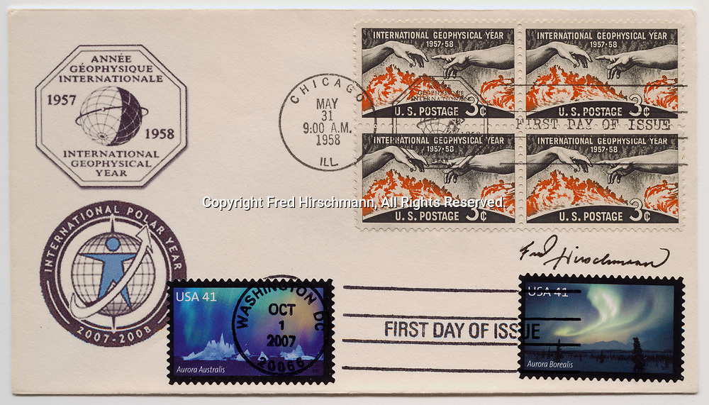 First Day Cover from 1958 with International Geophysical Year three cent stamps and  with 2007 United States First Class mail Polar Lights stamps Scott 4203 with photograph by Fred Hirschmann and Scott 4204.
