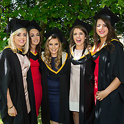 """25.08.2016          <br />  Faculty of Business, Kemmy Business School graduations at the University of Limerick today. <br /> <br /> Attending the conferring were Bachelor of Business Studies graduates, Nicole Freeman, Portroe Co. Tipperary, Alicia Collins, Glinsk Co. Galway, Amanda Hannon, Dunmore Co. Galway, Josephine Farrell, Craughwell Co. Galway and Kellie Quinn, Lisdowney Co. Kilkenny. Picture: Alan Place<br /> <br /> <br /> As the University of Limerick commences four days of conferring ceremonies which will see 2568 students graduate, including 50 PhD graduates, UL President, Professor Don Barry highlighted the continued demand for UL graduates by employers; """"Traditionally UL's Graduate Employment figures trend well above the national average. Despite the challenging environment, UL's graduate employment rate for 2015 primary degree-holders is now 14% higher than the HEA's most recently-available national average figure which is 58% for 2014"""". The survey of UL's 2015 graduates showed that 92% are either employed or pursuing further study."""" Picture: Alan Place"""