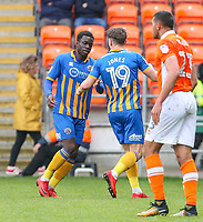 Shrewsbury Town's Sam Jones celebrates scoring the opening goal with Arthur Gnahoua<br /> <br /> Photographer Alex Dodd/CameraSport<br /> <br /> The EFL Sky Bet League One - Blackpool v Shrewsbury Town - Saturday 28th April 2018 - Bloomfield Road - Blackpool<br /> <br /> World Copyright © 2018 CameraSport. All rights reserved. 43 Linden Ave. Countesthorpe. Leicester. England. LE8 5PG - Tel: +44 (0) 116 277 4147 - admin@camerasport.com - www.camerasport.com