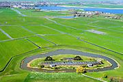 Nederland, Noord-Holland, Uitgeest, 20-04-2015; Fort bij Krommeniedijk, ten zuidoosten van Uitgeest. Onderdeel van de Stelling van Amsterdam. Foto richting Uitgeestermeer.<br /> Fort bij Krommeniedijk, part of 19th century Defense line of Amsterdam.<br /> luchtfoto (toeslag op standard tarieven);<br /> aerial photo (additional fee required);<br /> copyright foto/photo Siebe Swart