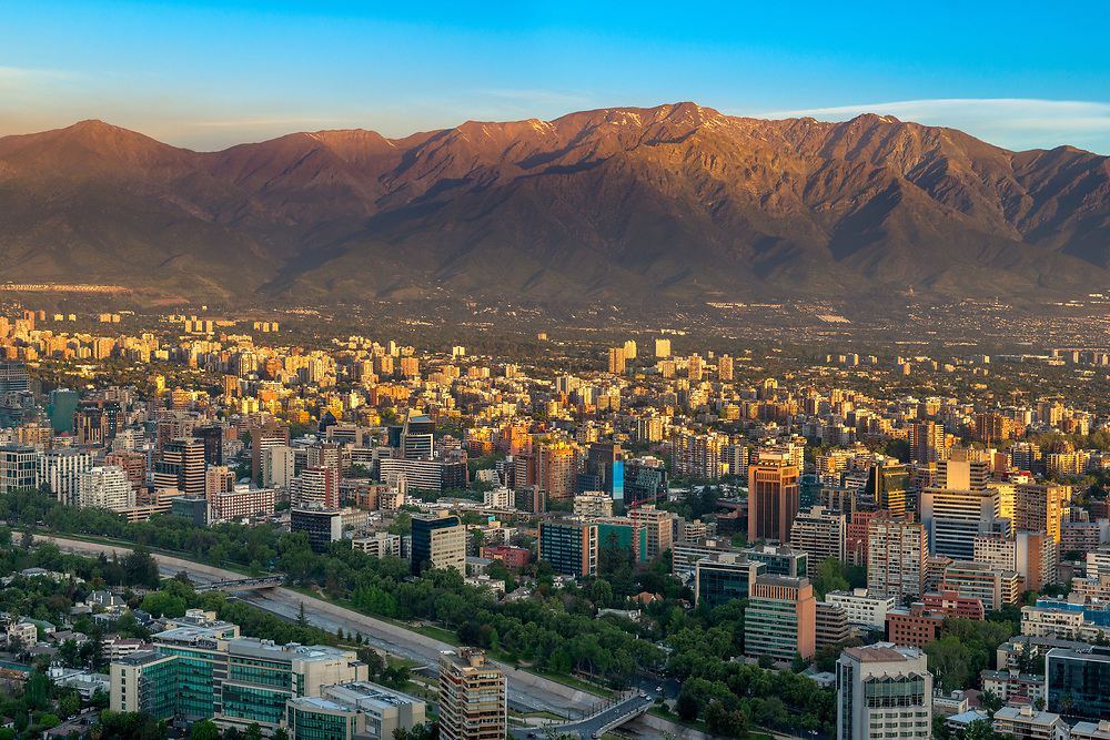 Panoramic view of Providencia district with Los Andes Mountain Range in Santiago de Chile, South America