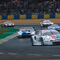 At the start #93, Porsche GT Team, Porsche 911 RSR, LMGTE Pro, driven by: Patrick Pilet, Nick Tandy, Earl Bamber on 15/06/2019 at the Le Mans 24H 2019