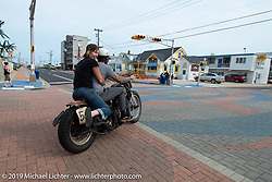 Jen and Jason Sheets taking off on their 1942 Harley-Davidson Knucklehead racer on setup day for TROG (The Race Of Gentlemen) in Wildwood, NJ. USA. Friday June 8, 2018. Photography ©2018 Michael Lichter.